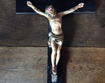 Vintage English Jesus painted plaster on black wooden cross crucifix circa 1920's / English Shop