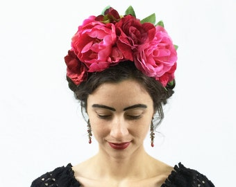 Frida Kahlo Headpiece, Pink Flower Crown, Frida Kahlo, Day of the Dead, Headband, Floral Crown, Corona de Flores, Costume, Mexico, Mexican