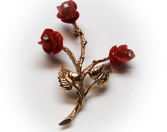 14K Carved Red Coral Roses with Diamond Accents Brooch