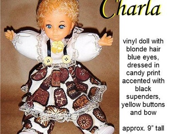 "Charla OOAK 9"" vinyl Caucasian doll, chocolate print, great Christmas or Valentine's Day gift"