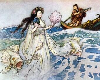 Sea Witch Print - Daughter of the Deep Sea Siren - Warwick Goble