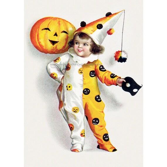 Halloween Clown Card - Pumpkin Jack O Lantern Domino Mask Greeting Card