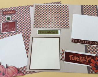 Thanksgiving scrapbook pages thanksgiving premade scrapbook pages  12 by 12  Thanksgiving album   premade pagesThanksgiving memories