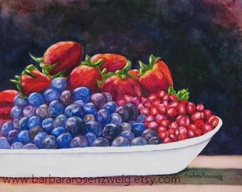 Fruit Kitchen Print, Strawberry Art Print, Kitchen Wall Art, Fruit Print, Blueberry Painting, Strawberries Blueberry Pomegranate Watercolor