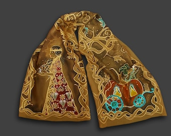 Fantasy scarf, Cinderella, pumpkin, fairytale, illustration, elven, tangle, painted scarf, golden, brown, gold, medieval, once upon a time