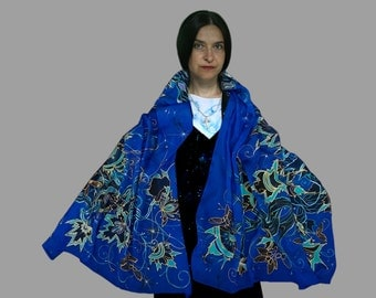 Fantasy fashion, elven wrap, elven costume, prom, Silmarillion, Tolkien, Middle Earth, royal blue, maple, dryad, Role Play, cosplay