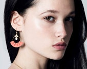 Reserved for Lisa - Flamenco earrings coral, golden leather and brass chains with fine gold