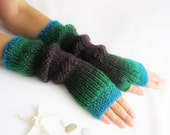 Fingerless Gloves  Long Wool Arm Warmers Hand Knit Mittens Multicolored Winter Gloves
