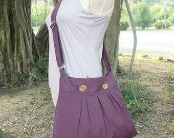 Holiday On Sale 10% off purple cotton canvas travel bag / shoulder bag / messenger bag / diaper bag / cross body bag, zipper closure