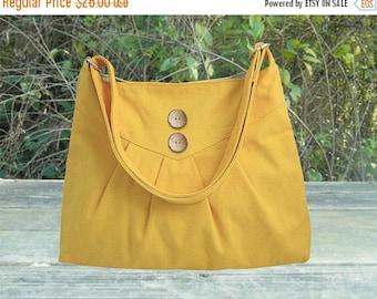 Holiday On Sale 10% off Golden cross body bag / messenger bag / shoulder bag / diaper bag  - cotton canvas