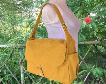 Holiday On Sale 10% off Golden canvas messenger bag, school bag, travel bag, womens purse, shoulder bags for women