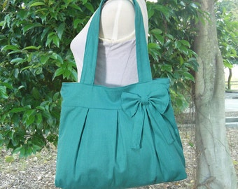 Turquoise green cotton canvas purse with bow / canvas tote bag / shoulder bag / hand bag / diaper bag