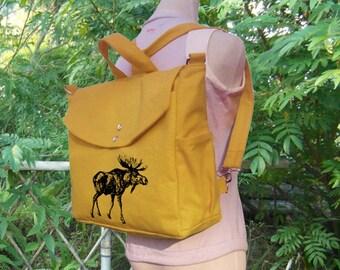 Golden cotten canvas deer printed backpack, cotton canvas messenger bag, canvas handbag, travel bag, laptop bag, shoulder bag