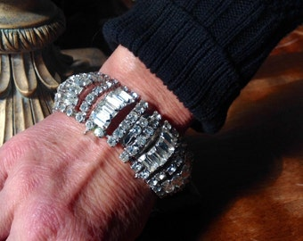 Kramer of New York wide stunning rhinestone bracelet VJSE