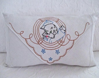 Seaside Sale. Nautical Vintage Embroidered Pillow, Sailor Dog in Life Ring, Envelope Style.