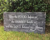 Large Kitchen Wood Sign - Rustic Kitchen Sign - Bless the Food Sign - Farmhouse Kitchen Sign - Reclaimed Wood Sign - Family Prayer Sign