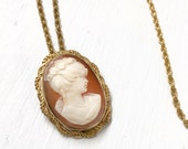 Vintage gold filled Cameo Pin Brooch Necklace signed Carla