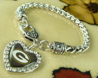 GREEN BAY PACKERS nfl jewelry heart pendant on link silver chain charm Bracelet