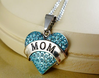 MOM Blue teal enamel heart with silver Chain Necklace