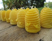 """Set of 20 Beeswax Candles- Hive shaped with bees, larger votive size, 3"""" tall"""