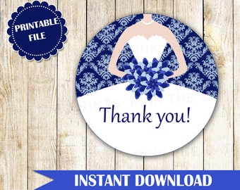 Royal Blue Damask Bridal Shower Thank You Tag - Quinceanera or Sweet 16 Party Favor INSTANT DOWNLOAD