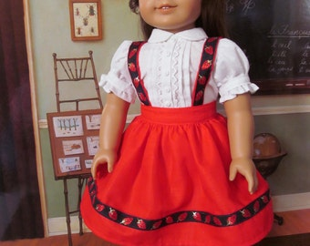 1950 School Dress, Historical Dress, Blouse, Suspender Skirt, 18 Inch  Doll Clothes