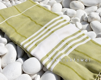 Turkishtowel-Soft-Hand woven,warp&weft cotton Bath,Beach Towel-Point twill pattern,Natural cream stripes on the Olive Green