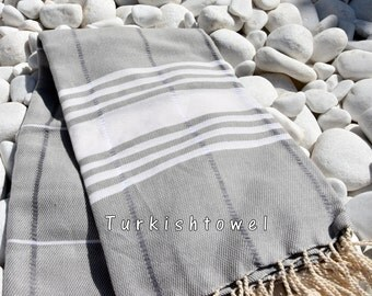 Turkishtowel-Soft-Hand woven,warp&weft cotton Bath,Beach Towel-Point twill pattern,Cream stripes on the Grey