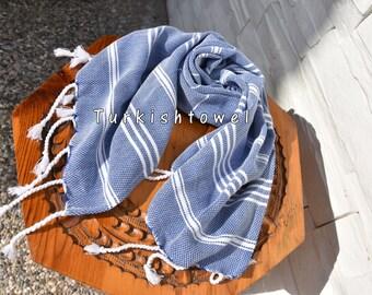 Turkishtowel-Set of 2-Soft-Hand woven,warp&weft cotton Hand,Tea,DishTowel-Twill pattern,White stripes on Blue