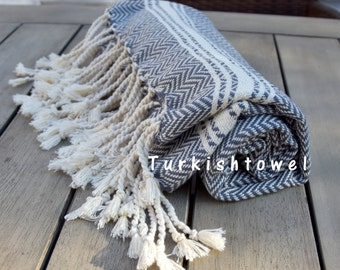 Turkishtowel-Soft-Hand woven,warp&weft cotton Hand,Tea,DishTowel-Herrigbone pattern,Natural Cream stripes on Grey