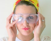 Vintage RETRO GOGGLES.....1970s. big lens. groovy. twiggy. mod. retro glasses. 1970s. disco. worker. hippie. urban. hipster. deadstock.