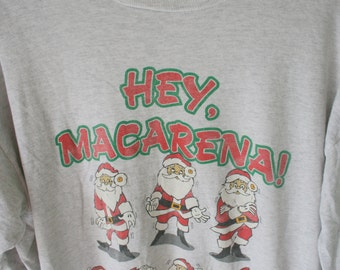Vintage MACARENA Christmas Sweater...size large xlarge...dance. retro. holiday. festive. oversized. 1990s. hipster. hey macarena. santa. fun