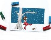 Cute Postcard - Children's Wall Art Print - Kids Decor - Wall Art Illustration - Girl's nursery - Girl in the swing  - 4.1 x 5.8 in