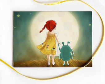 Cute Postcard - Children's Wall Art Print - Kids Decor - Wall Art Illustration - Girl's nursery - toddler's room - The moon - 4.1 x 5.8 in