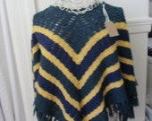 Hand Knit Crochet Wool Poncho. one size