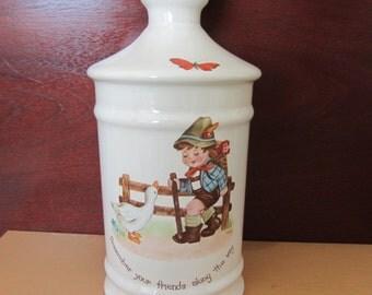 Vintage Hummel jar, 1979 Hummel decanter Hummel bathroom bottle dresser jar hummel friends jar, hummel boyfriends, hummel girl friends