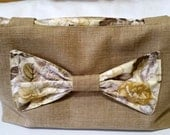 Canvas Beige And Floral Tote Bag With Bow Fully Lined