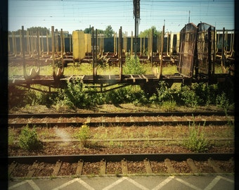 Train Tracks Box Cars Wires Parallel Abstracted Art Photograph Print
