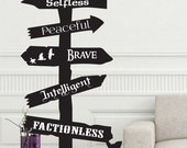 Divergent inspired road sign wall Decal Fantasy Selfless Peaceful Brave Intelligent Candor Abnegation Erudite Amity Dauntless Factionless