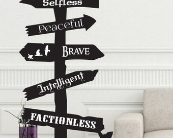 Be Divergent road sign wall Decal Fantasy Brave Dauntless storybook fairytale adventure