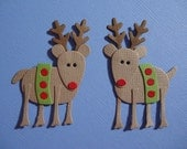 2 Reindeer Embellishment for Christmas Scrapbooking Cards Paper Crafts Paper Piecing Die Cuts Rudolf The Red Nose