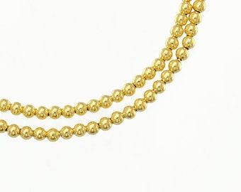 50 of 925 Sterling Silver 24k Vermeil Style Round Seed Beads 2 mm. :vm0025