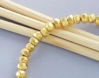 20 of Karen Hill Tribe 24K Gold Vermeil Style Facet Rondelle Beads 3.7x2.5 mm.  :vm0545