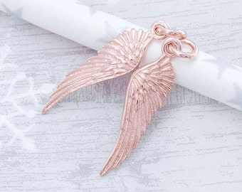 2 of 925 Sterling Silver Rose Gold Vermeil Style Angel Wing Charms 6x22 mm. :pg0017