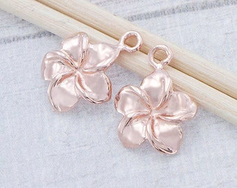 2 of 925 Sterling Silver Rose Gold Vermeil Style Plumeria flower Charms 11 mm. :pg0019