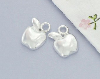 2 of 925 Sterling Silver Tiny Apple Charms 7x8.5 mm.  :th2365