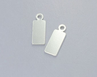 4 of 925 Sterling Silver Rectangle Disc Tag Charms 5x13mm. :th2374