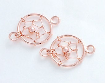 2 of 925 Sterling Silver Rose Gold Vermeil Style Dream Catcher Connectors,Links 10mm. :pg0110