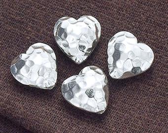 4 of Karen Hill Tribe Silver Hammered Heart Beads 12 mm. :ka2888