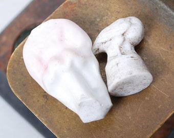 Set of 2 Antique miniature Porcelain toy, miniature headless figurines, man and bird